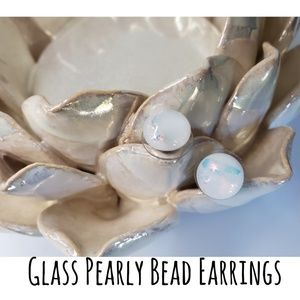 Glass Pearly Bead Stud Earrings
